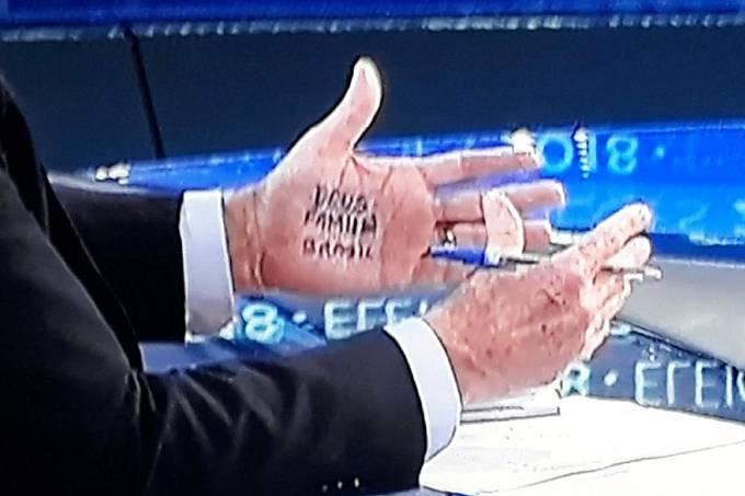 Jair Bolsonaro utiliza cola durante entrevista no 'Jornal Nacional'