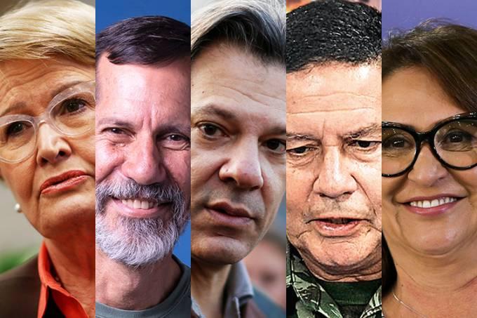 Os candidatos a vice-presidente da República: Ana Amélia (PP), Eduardo Jorge (PV), Fernando Haddad (PT), General Hamilton Mourão (PRTB) e Kátia Abreu (MDB)
