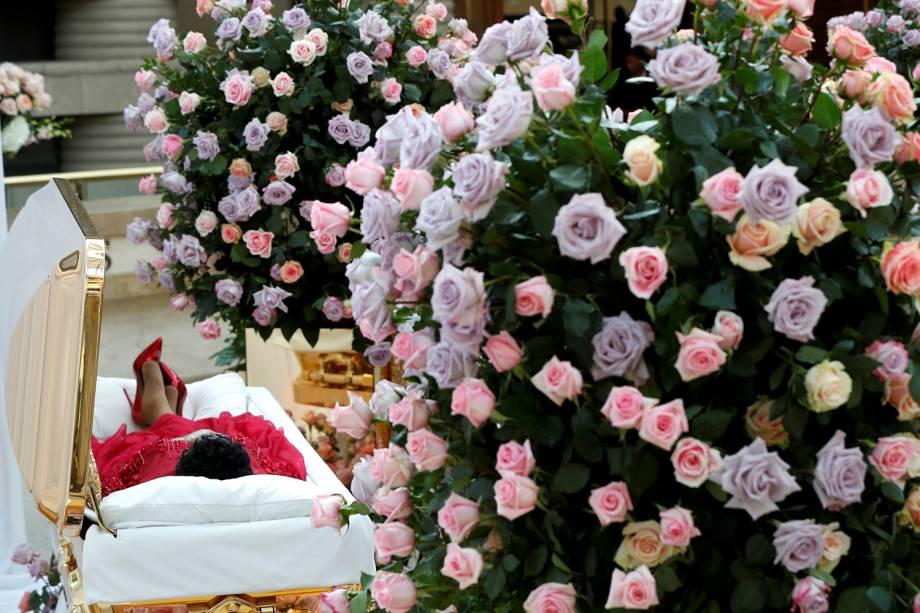O corpo da cantora Aretha Franklin está sendo velado no Museu Charles H. Wright de História Afro-Americana em Detroit, Michigan - 28/08/2018