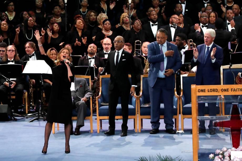 Cantora Faith Hill se apresenta no funeral de Aretha Franklin no Greater Grace Temple em Detroit, Michigan - 31/08/2018