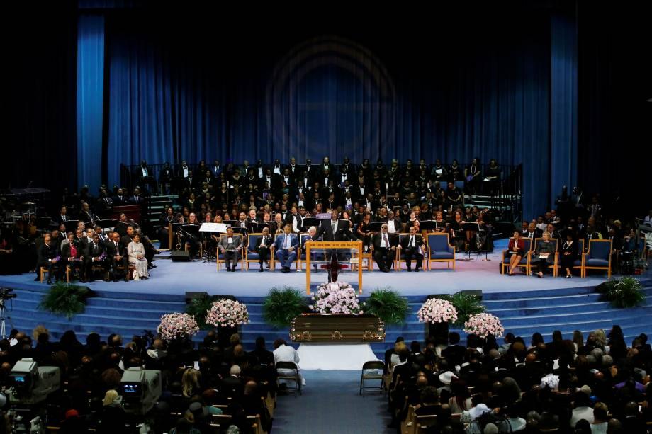 Reverendo E.L. Branch fala durante o funeral de Aretha Franklin no Greater Grace Temple em Detroit, Michigan - 31/08/2018
