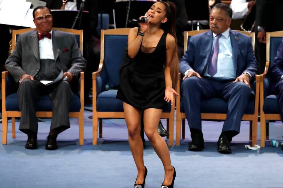 Ariana Grande se apresenta durante tributo à cantora Aretha Franklin em Detroit, Michigan - 31/08/2018