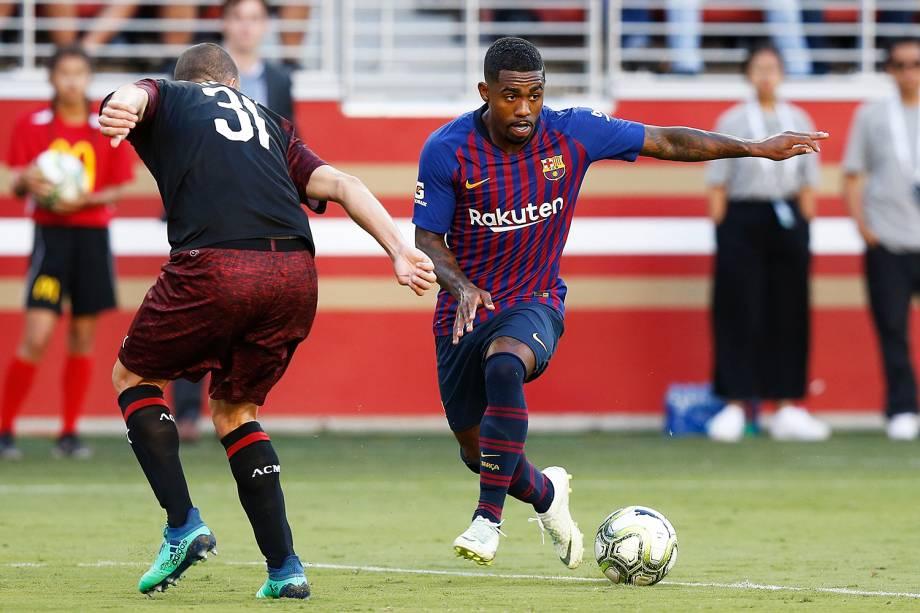 O jogador Malcom, do Barcelona, durante partida contra o Milan, válida pelo torneio amistoso Champions Cup - 04/08/2018