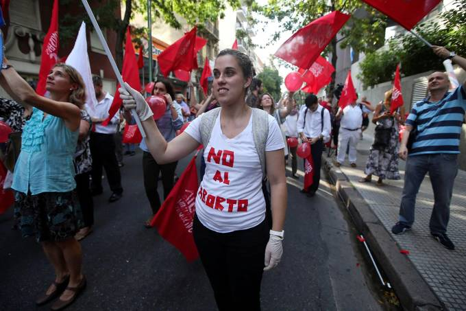 Protesto contra o aborto na Argentina