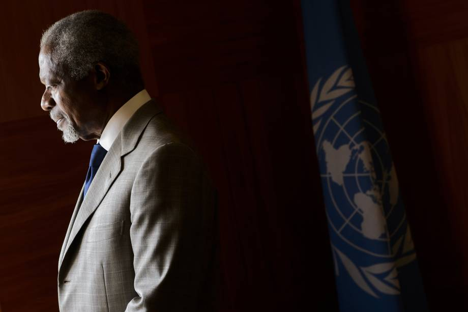 O ex-secretário Geral da ONU Kofi Annan no escritório das Nações Unidas em Genebra em 2012