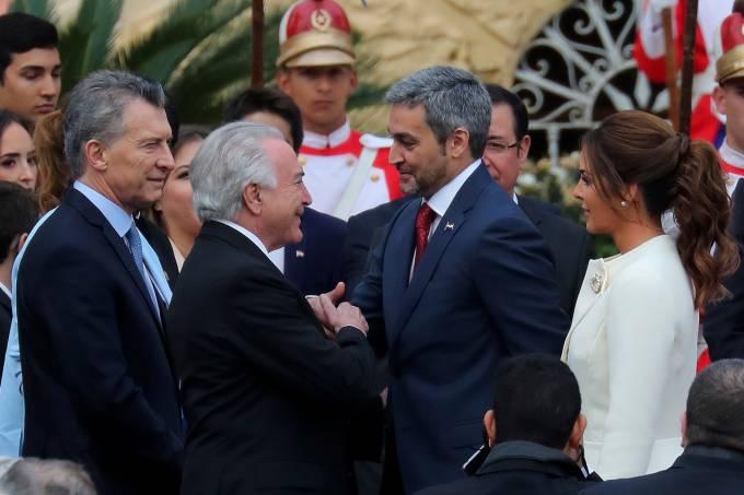 Mario Abdo Benítez e Michel Temer