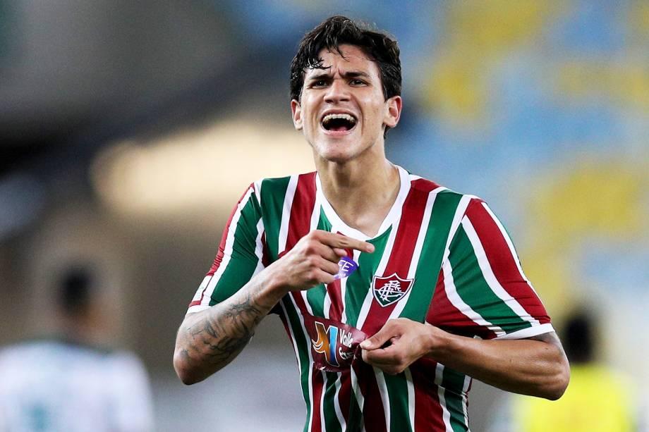 O jogador Pedro, do Fluminense, comemora após vitória sobre o Palmeiras, em partida válida pelo Campeonato Brasileiro - 25/07/2018