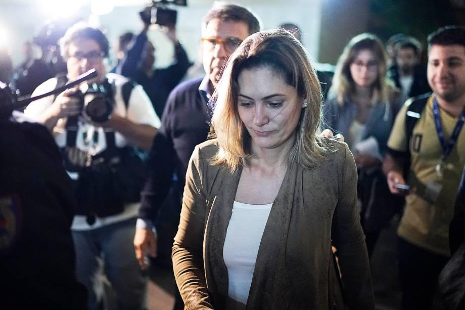 Michelle Bolsonaro, esposa do candidato à Presidência da República, Jair Bolsonaro (PSL), deixa a Santa Casa de Juiz de Fora (MG), após visitar o presidenciável, esfaqueado durante ato de campanha - 06/09/2018