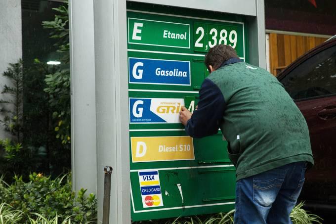 Aumento de preço da gasolina em SP