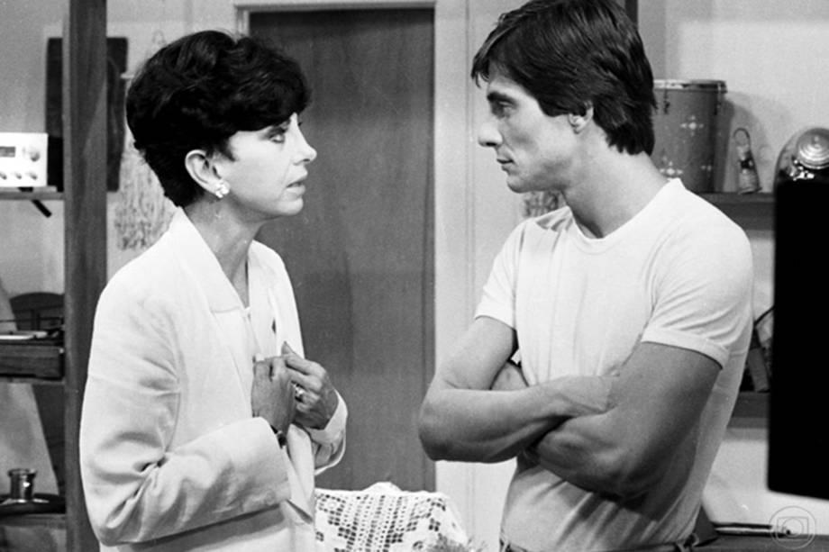 Beatriz Segall e Fábio Jr. na novela 'Água Viva', em 1980