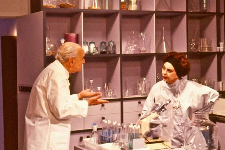 Mário Lago e Beatriz Segall em 'Barriga de Aluguel', de 1990