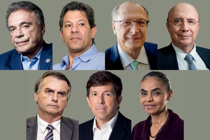 Álvaro Dias, Fernando Haddad, Geraldo Alckmin, Henrique Meirelles, Jair Bolsonaro, João Amoêdo e Marina Silva