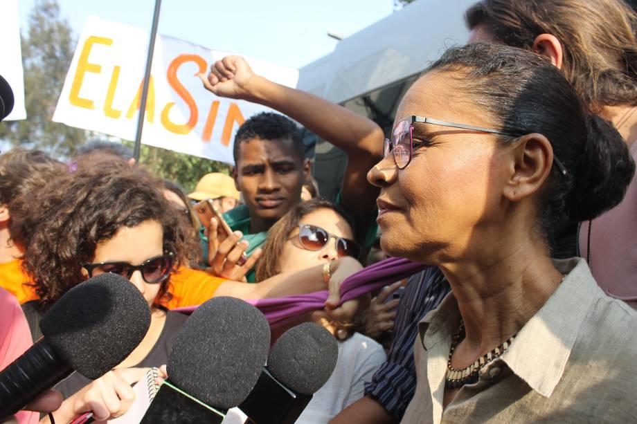 Candidata à presidência da República pela Rede, Marina Silva participa de protesto contra o candidato Jair Bolsonaro, no Largo da Batata, em São Paulo - 29/09/2018