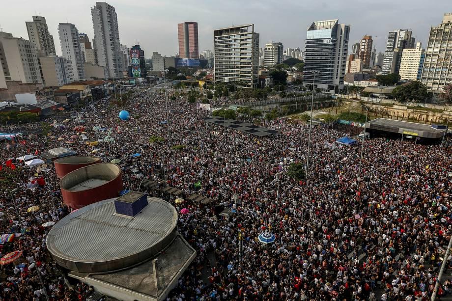 Vista aérea da manifestação contra o presidenciável Jair Bolsonaro no Largo da Batata em São Paulo - 29/09/2018