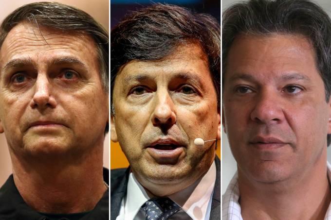 Jair Bolsonaro, João Amoêdo e Fernando Haddad