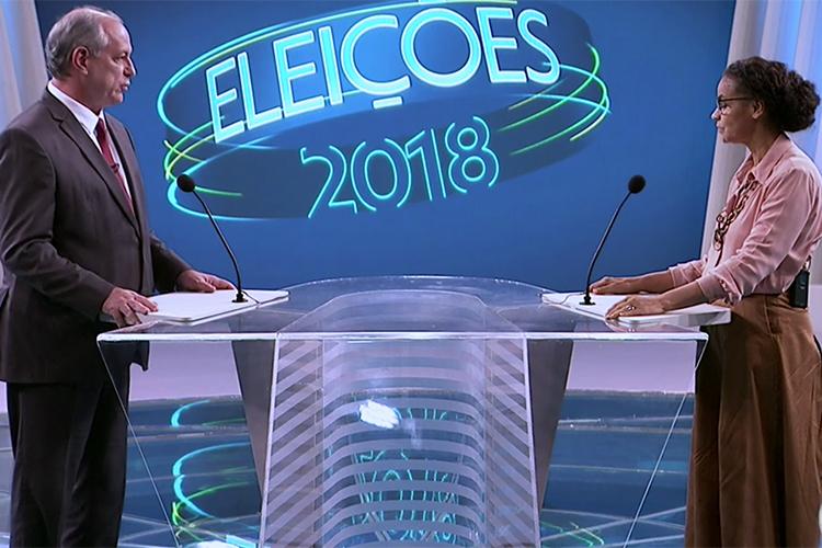 Ciro Gomes (PDT) e Marina Silva (Rede), durante debate entre presidenciáveis na TV Globo - 04/10/2018