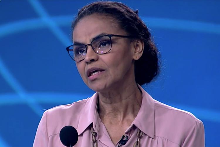 Marina Silva (Rede), candidata à Presidência da República, durante debate entre presidenciáveis na TV Globo - 04/10/2018