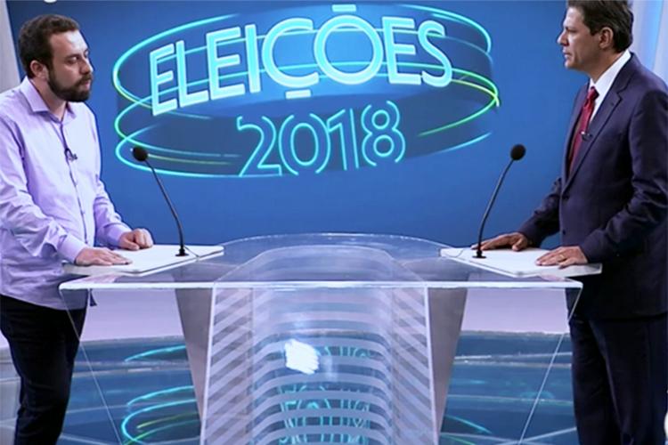 Guilherme Boulos (PSOL) e Fernando Haddad (PT), durante debate entre presidenciáveis realizado pela TV Globo - 04/10/2018