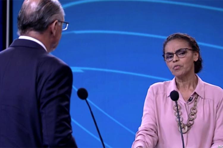 Marina Silva (Rede), candidata à Presidência da República, durante debate realizado pela TV Globo - 04/10/2018