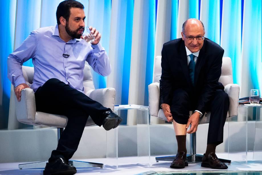 Guilherme Boulos (PSOL) e Geraldo Alckmin (PSDB), candidatos à Presidência da República, durante debate realizado pela TV Globo - 04/10/2018
