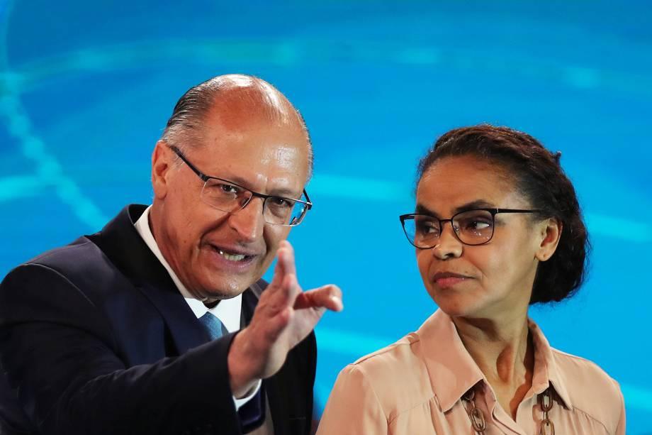 Geraldo Alckmin (PSDB) e Marina Silva (Rede),  antes do início de debate entre presidenciáveis realizado pela TV Globo - 04/10/2018