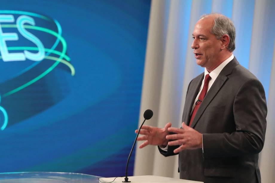 Ciro Gomes (PDT), candidato à Presidência da República, participa de debate realizado pela TV Globo - 04/10/2018