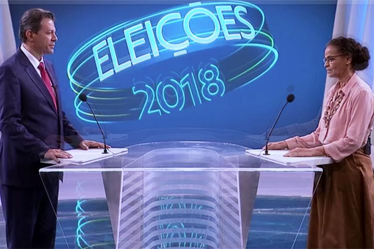 Fernando Haddad (PT) e Marina Silva (Rede), durante debate entre presidenciáveis realizado pela TV Globo - 04/10/2018