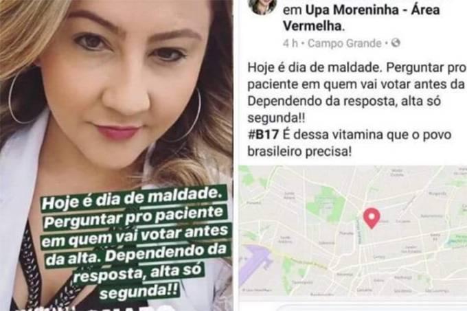 Médica apoiadora de Bolsonaro diz em rede sociais que só dá alta se concordar com voto do paciente
