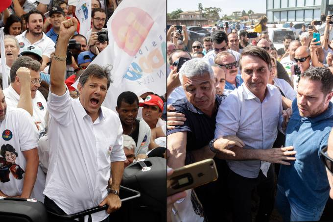 Fernando Haddad (PT) e Jair Bolsonaro (PSL) durante campanha eleitoral em São Paulo