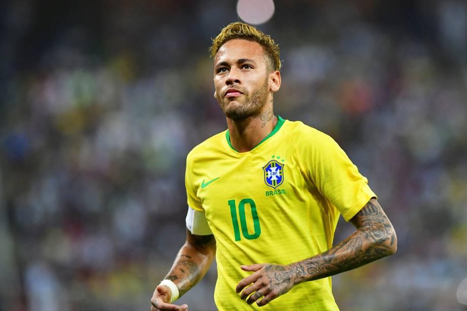 Neymar durante partida entre Brasil e Argentina, válida pelo Superclássico das Américas - 16/10/2018