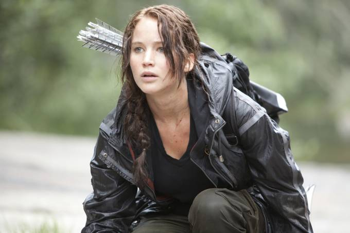 Jennifer Lawrence como Katniss em 'Jogos Vorazes'