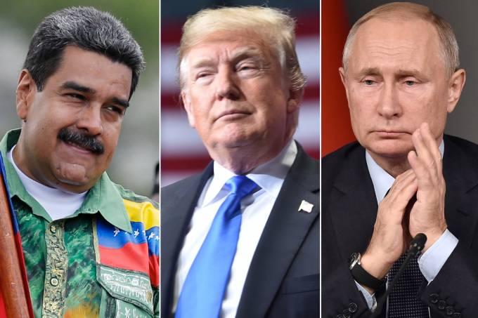 Nicolás Maduro, Donald Trump e Vladimir Putin