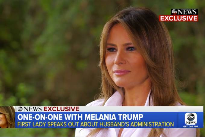 Melania Trump durante entrevista exclusiva à ABC News