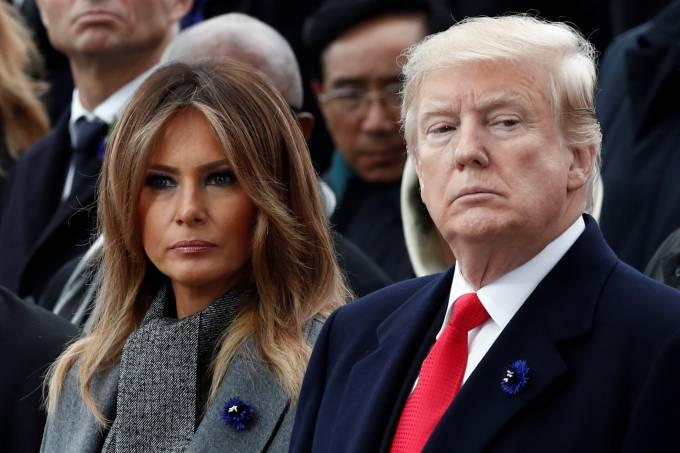 Presidente dos Estados Unidos, Donald Trump, e primeira-dama, Melania Trump, em Paris