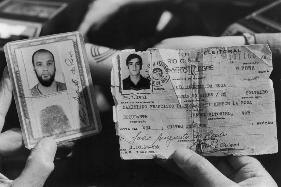 """Documentos do inspetor João Augusto da Rosa, conhecido com """"Irno"""", comandante da operação que sequestrou os uruguaios Lilián Celiberti e Universindo Dias - 01/10/1979"""