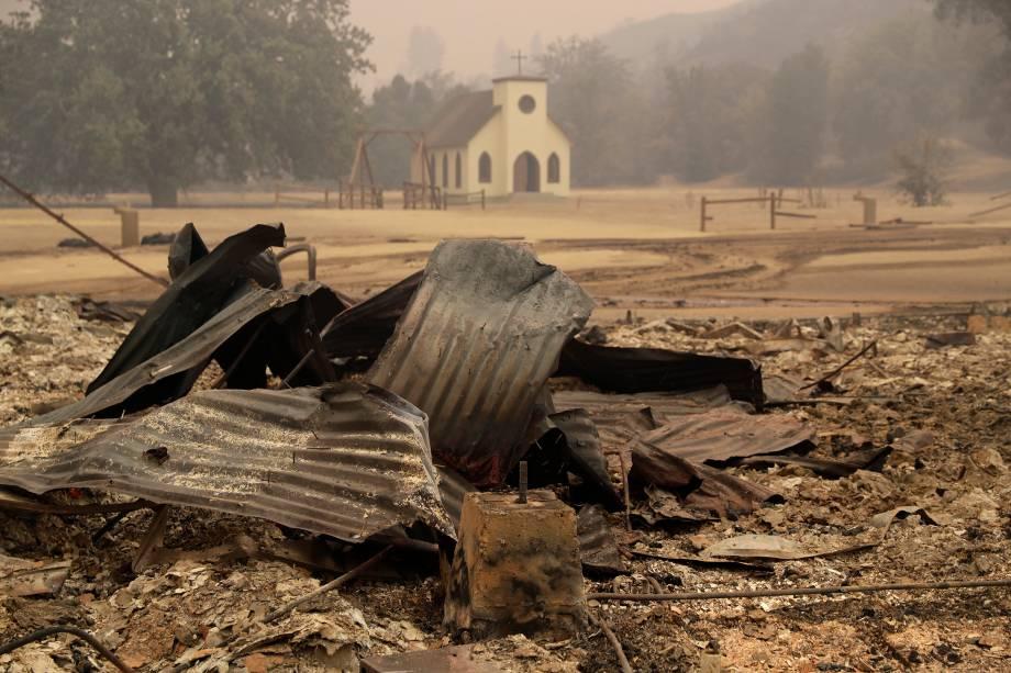 O Paramount Ranch, onde vários filmes de faroeste de Hollywood foram filmados, é visto depois de ter sido dizimado por um incêndio em Agoura Hills, Califórnia - 09/11/2018
