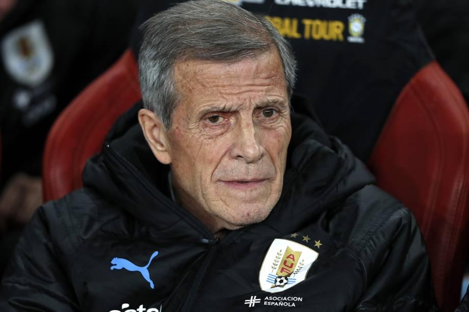Oscar Tabarez, técnico do Uruguai, antes de partida amistosa contra a Seleção Brasileira em Londres - 16/11/2018