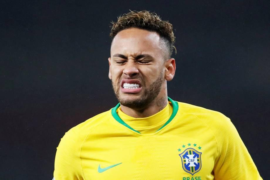 O atacante Neymar, da Seleção Brasileira, durante partida amistosa contra o Uruguai, realizada em Londres - 16/11/2018