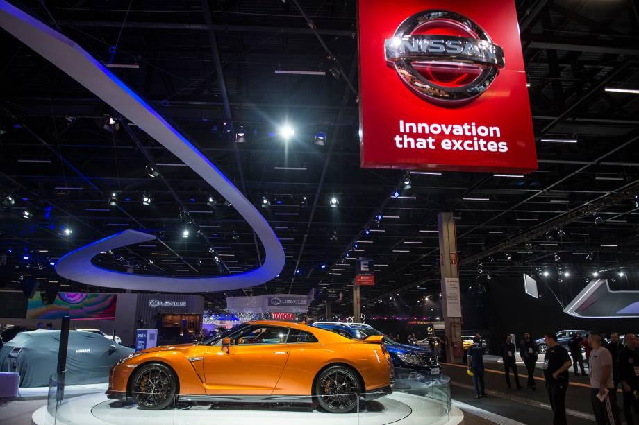 Nissan GT-R durante a abertura do Salão do Automóvel 2018 para a imprensa, no São Paulo Expo - 06/11/2018