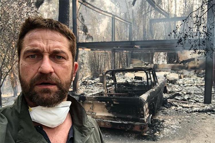 O ator Gerard Butler publica em seu Instagram fotos da destruição de sua casa após ser atingida pelo incêndio em Malibu, na Califórnia