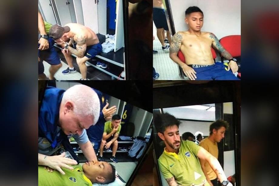 Jogadores do Boca Juniors recebem atendimento após serem agredidos por torcedores do River Plate na chegada ao Monumental de Nuñez, em Buenos Aires