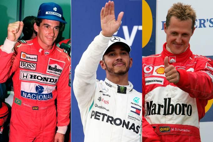 Ayrton Senna, Lewis Hamilton e Michael Schumacher