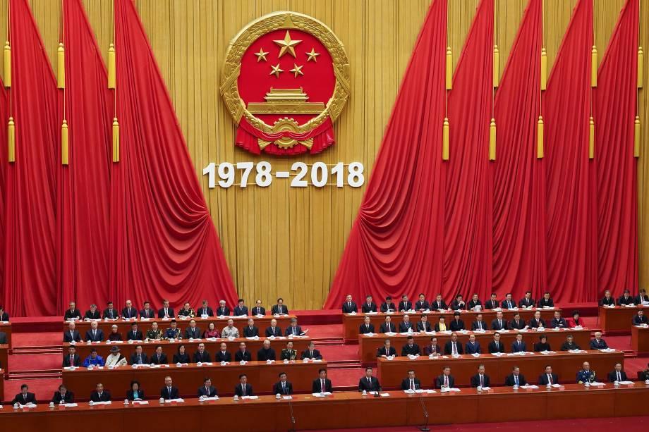 Presidente chinês Xi Jinping faz discurso durante evento pelos 40 anos das reformas econômicas no Grande Salão do Povo, em Pequim - 18/12/2018