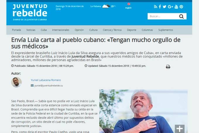 Lula envia carta para jornal cubano