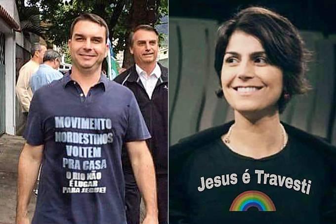 Flávio Bolsonaro e Manuela d'Ávila
