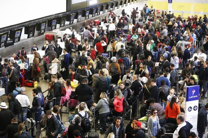 Filas em check-in no Aeroporto de Guarulhos