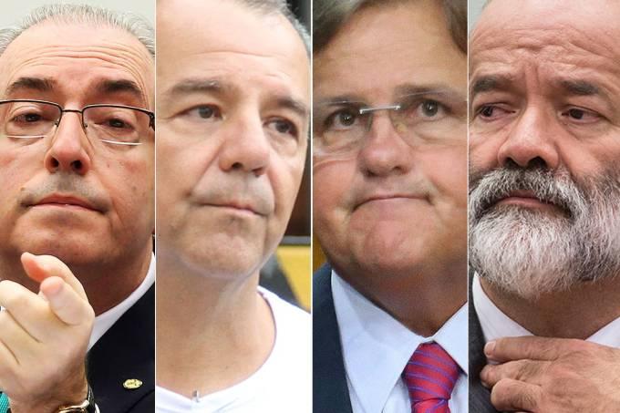 Eduardo Cunha, Sérgio Cabral, Geddel Vieira Lima e João Vaccari Neto