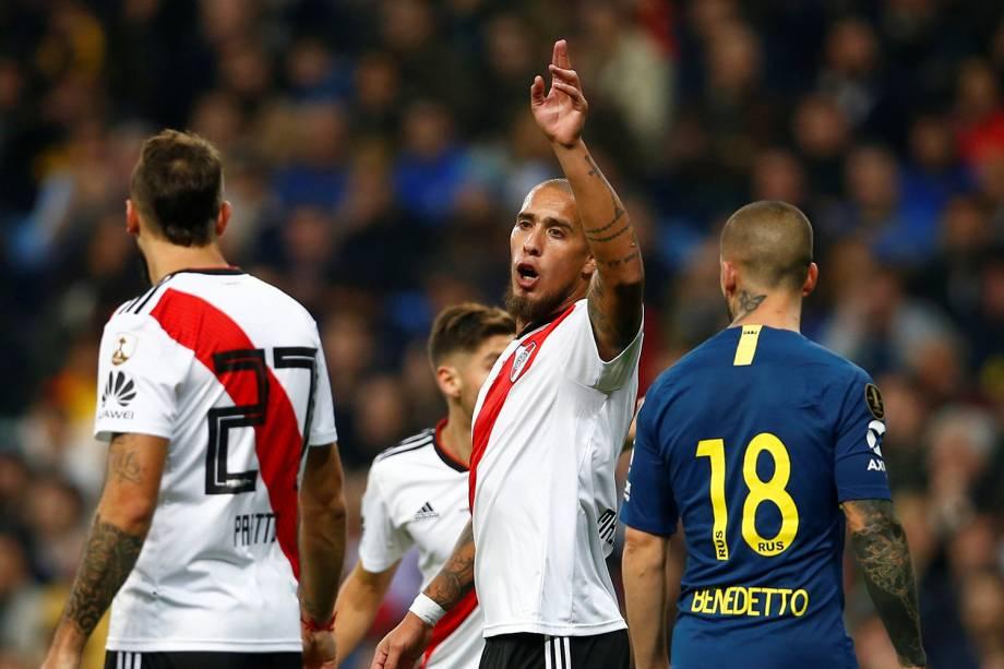 Jonatan Maidana do River Plate reage durante partida contra o Boca Juniors em Madri, Espanha - 09/12/2018