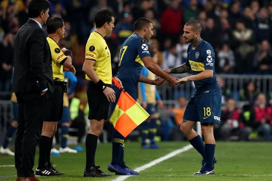 Ramon Abila do Boca Juniors substitui Dario Benedetto em partida contra o River em Madri, Espanha - 09/12/2018