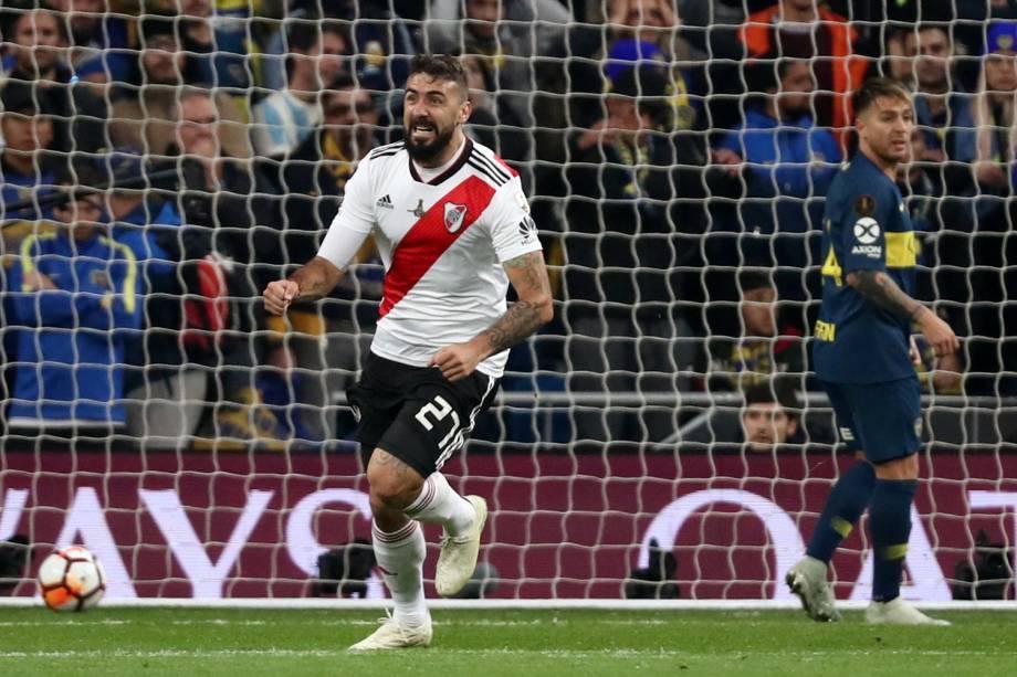 Lucas Pratto do River Plate comemora seu primeiro gol em partida contra o Boca Juniors em Madri, Espanha - 09/12/2018